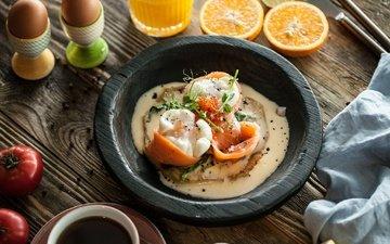 зелень, еда, рыба, яйцо, блюдо, лосось