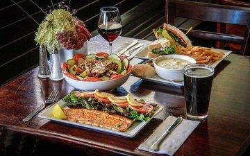 greens, table, wine, fish, cola
