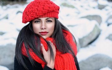 winter, girl, brunette, look, hair, face, makeup, takes, scarf