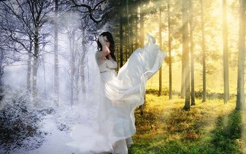 trees, nature, winter, girl, summer, contrast, white dress