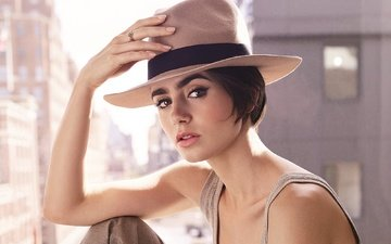 girl, look, hair, face, actress, hat, lily collins