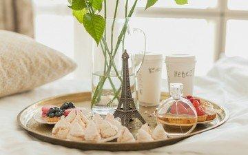 morning, paris, window, breakfast, pillow, cookies, tray, cake, decanter