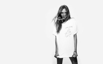 black and white, model, t-shirt, photoshoot, cara delevingne