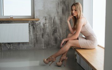 girl, dress, blonde, legs, makeup, figure, shoes, posing, sill, sitting, window