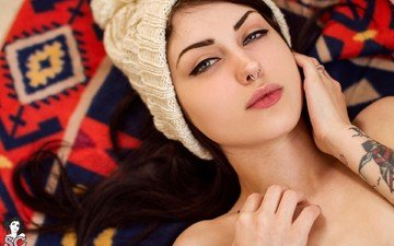 brunette, model, face, tattoo, blue eyes, cap, photoshoot, lying, arwen suicide