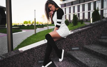 ladder, girl, dress, glasses, hair, shoes, knee