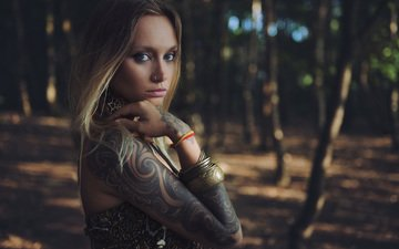 trees, forest, girl, blonde, look, tattoo, hair, face, anastasia vervueren