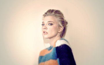 girl, background, blonde, portrait, model, hair, face, sweater, photoshoot, celebrity, natalie dormer