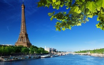 the sky, river, tree, leaves, paris, france, eiffel tower