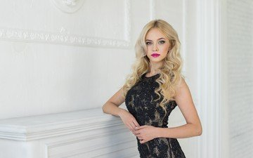girl, blonde, look, model, face, makeup, black dress, photoshoot, long hair