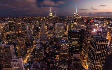 огни, закат, город, сша, нью-йорк