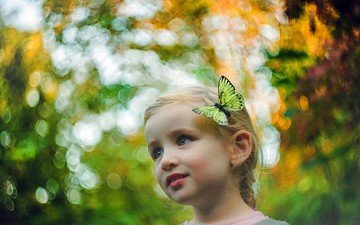 butterfly, girl, hair, face, blue-eyed