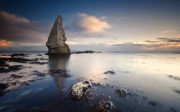 clouds, the evening, stones, sea, rock, horizon, stranded, algae, reefs