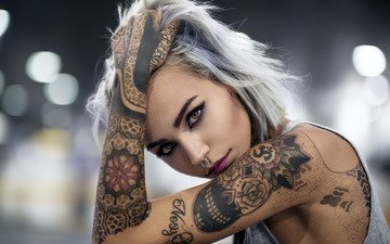 girl, look, model, tattoo, makeup, piercing, white hair