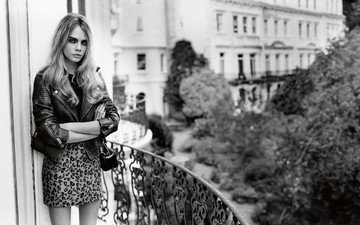 dress, black and white, model, photoshoot, cara delevingne, kozhanka