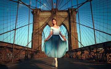 girl, model, posing, brooklyn bridge, brooklyn, ballerina, ivan gorokhov