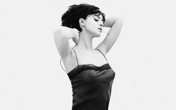 girl, black and white, hair, face, actress, monica bellucci, closed eyes