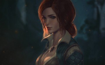 girl, look, anime, red, the witcher, witch, darkness, woman warrior, the witcher 3 wild hunt, triss merigold, ersona