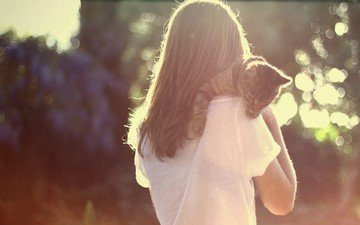 девушка, платье, кот, волосы, животное, солнечный свет