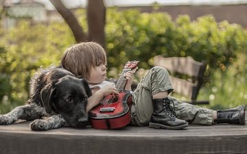 guitar, dog, boy, friends, shoes