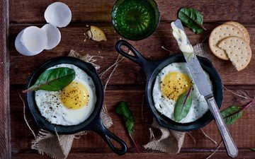 greens, breakfast, eggs, knife, cookies, still life, crackers, scrambled eggs, anna verdina