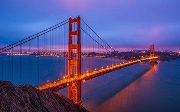 вода, закат, море, мост, океан, сан-франциско, калифорния, бухта, золотые ворота