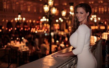 lights, the evening, dress, brunette, the city, look, girls, figure, jordan carver