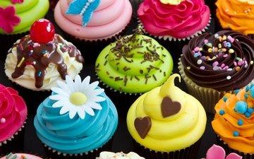 сладкое, десерт, пирожное, кексы, крем