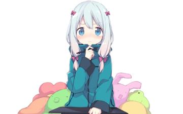 girl, anime, face, loli, white hair, izumi sagiri, eromanga-sensei