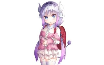 девушка, взгляд, аниме, рога, лоли, миленькая, 21, kamui kanna, kobayashi-san chi no maid dragon, 12