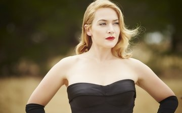 girl, blonde, look, hair, face, actress, black dress, kate winslet, bare shoulders