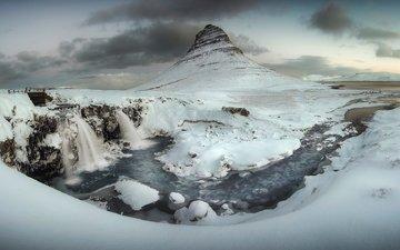 река, снег, зима, гора, исландия, водопады