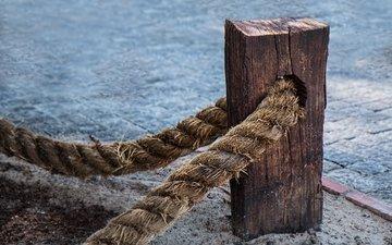 веревка, канат, столб, крепление