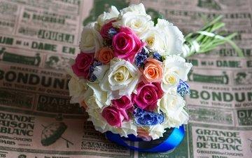 цветы, бутоны, розы, лепестки, разноцветные, букет, лента, свадебный букет