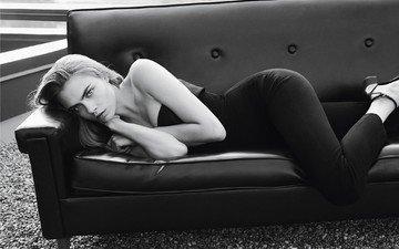 black and white, model, sofa, lying, cara delevingne