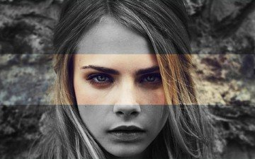girl, portrait, look, black and white, model, hair, face, makeup, cara delevingne