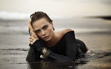 вода, девушка, взгляд, модель, актриса, кольца, браслеты, фотосессия, ка́ра делеви́нь, john hardy