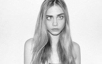 black and white, model, face, the trick, cara delevingne