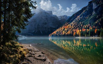 the sky, clouds, trees, water, lake, mountains, rocks, nature, forest, reflection, landscape, autumn