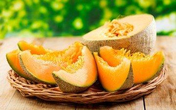 fruit, table, slices, pieces, melon