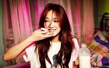 улыбка, лицо, молоко, азиатка, gевочка, kpop, meng jia