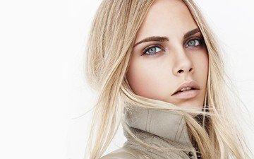 блондинка, модель, лицо, актриса, белый фон, макияж, прическа, кара делевинь