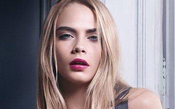 блондинка, портрет, модель, лицо, актриса, макияж, кара делевинь, розовые губы