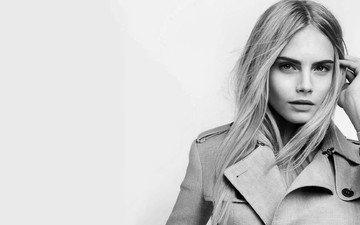 девушка, блондинка, взгляд, чёрно-белое, модель, лицо, актриса, кара делевинь