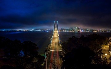 ночь, огни, горизонт, мост, сша, калифорния, bay bridge, сан - франциско