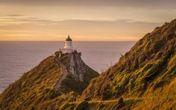 the sky, rocks, sea, lighthouse, coast, new zealand, cape, catlins, nugget point lighthouse