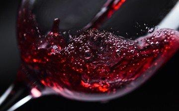 бокал, вино, красное вино, крупным планом