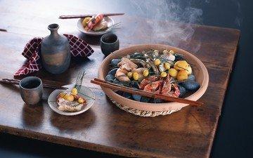 овощи, посуда, морепродукты, креветки