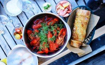 хлеб, укроп, морепродукты, креветки, раки
