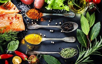 зелень, овощи, рыба, травы, специи, пряности, приправы, ложки, специи перец